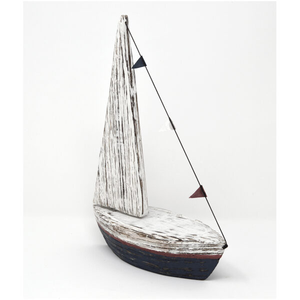 blue wooden sailing boat