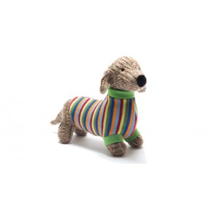knitted sausage dog toy with striped jumper