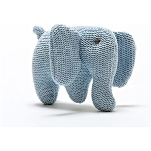 knitted organic cotton blue elephant baby rattle