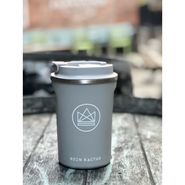 grey reusable insulated coffee cup