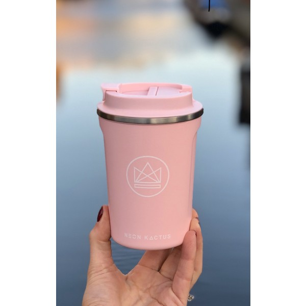 pink neon kactus insulated travel coffee cup