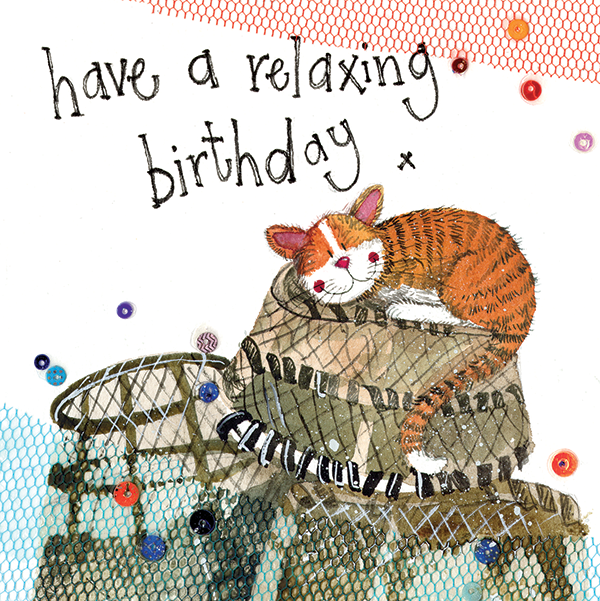 cat and lobster birthday card